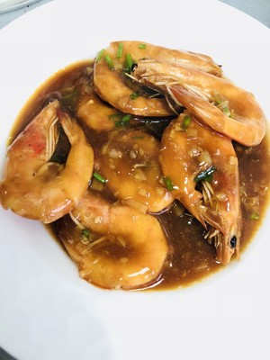 Braised prawn in ten minutes - complete