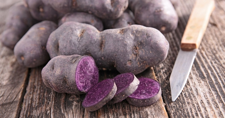 Sliced purple potato